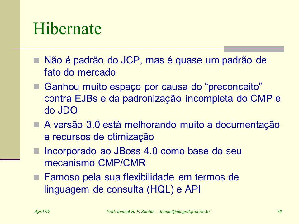 Hibernate Não é padrão do JCP, mas é quase um padrão de fato do mercado.