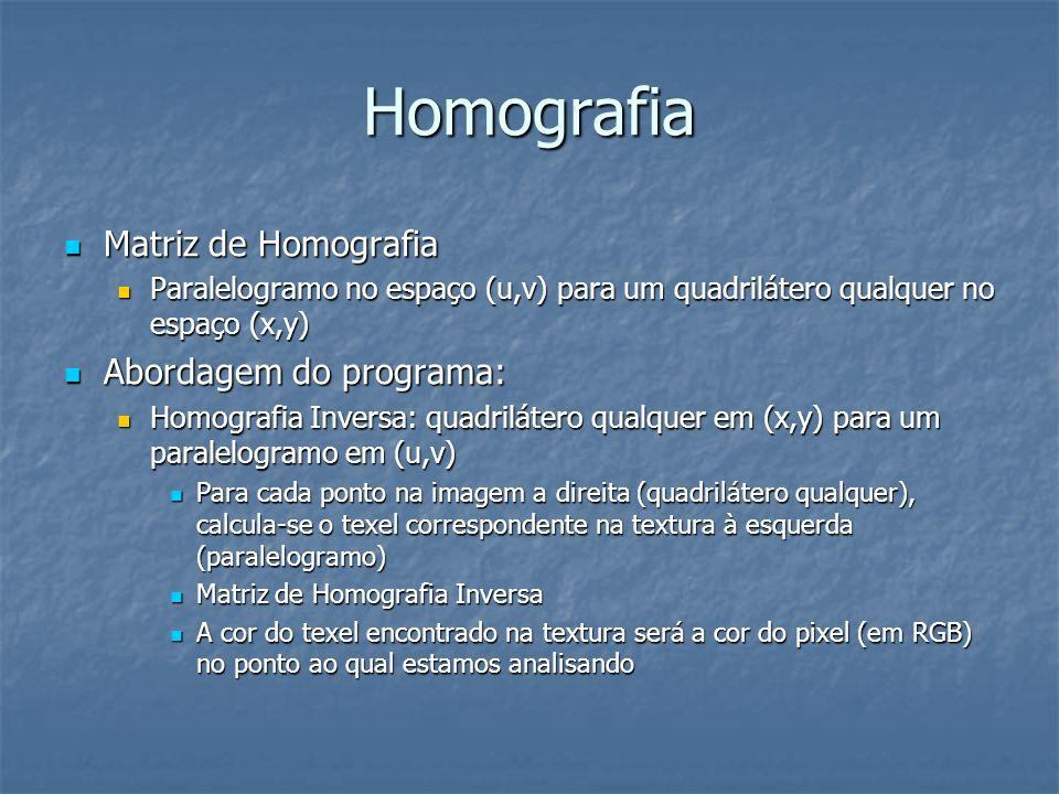 Homografia Matriz de Homografia Abordagem do programa:
