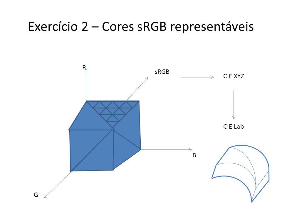 Exercício 2 – Cores sRGB representáveis