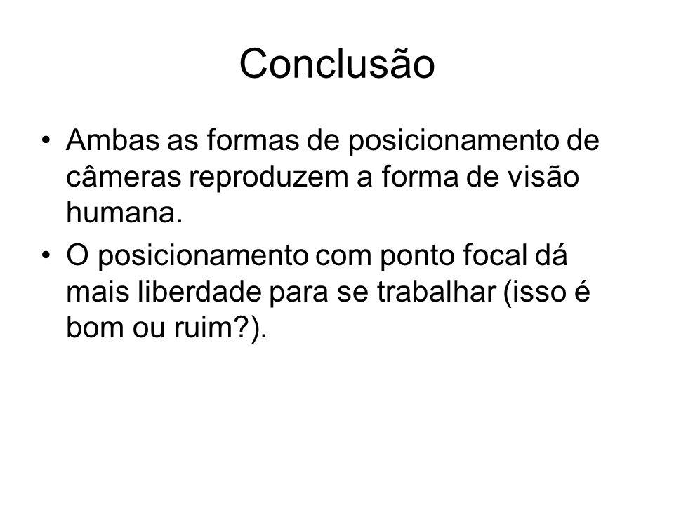 Conclusão Ambas as formas de posicionamento de câmeras reproduzem a forma de visão humana.