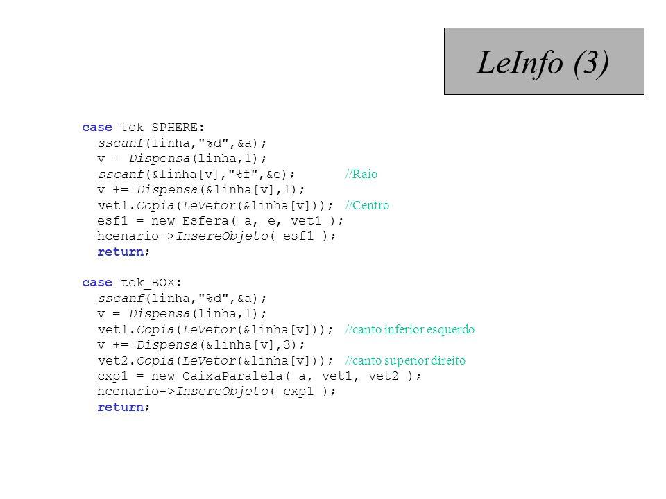 LeInfo (3) case tok_SPHERE: sscanf(linha, %d ,&a);