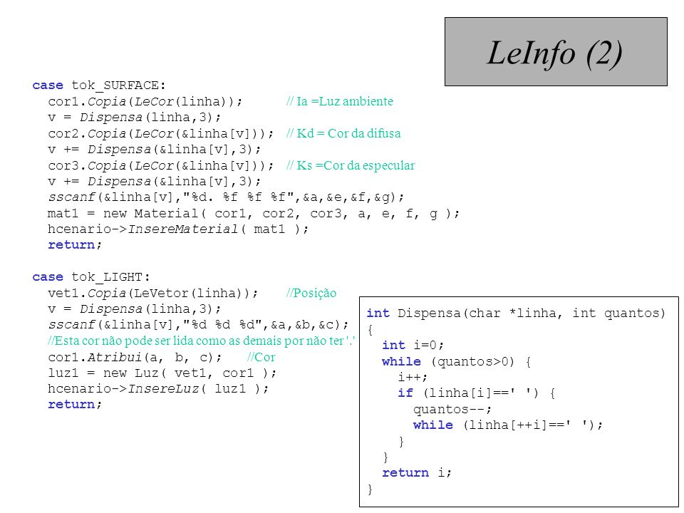 LeInfo (2) case tok_SURFACE: