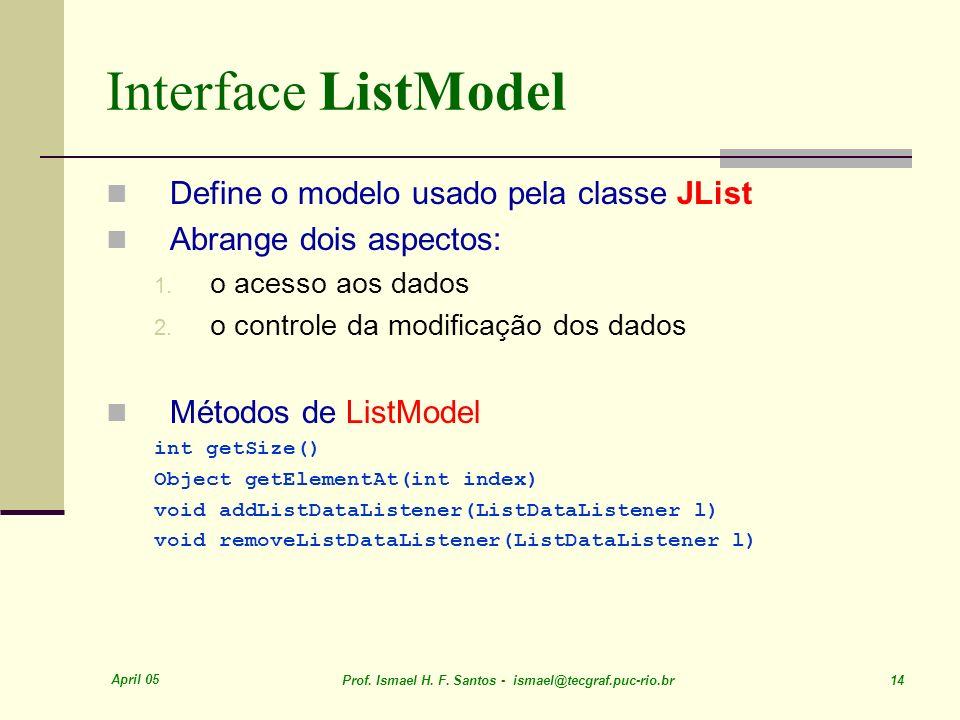 Interface ListModel Define o modelo usado pela classe JList