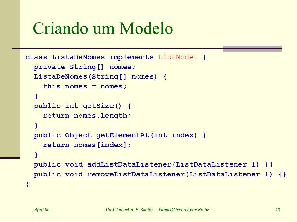 Criando um Modelo class ListaDeNomes implements ListModel {
