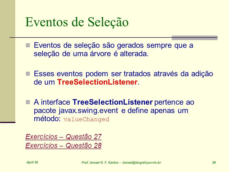 Eventos de Seleção Eventos de seleção são gerados sempre que a seleção de uma árvore é alterada.