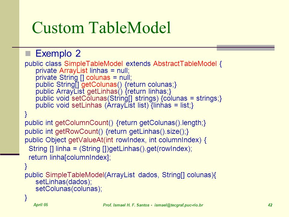 Custom TableModel Exemplo 2