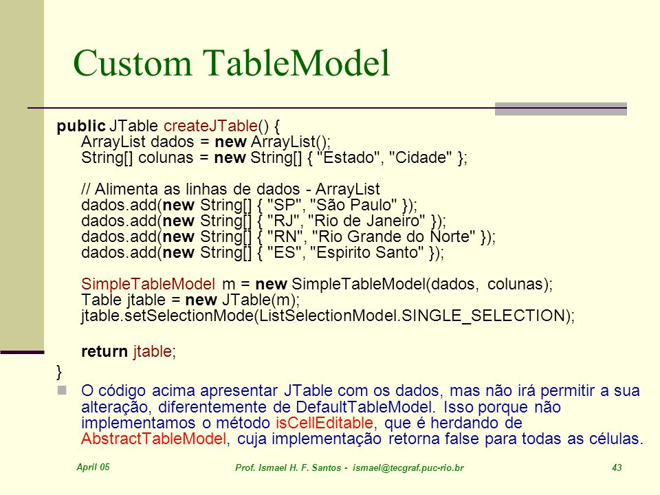 Custom TableModel