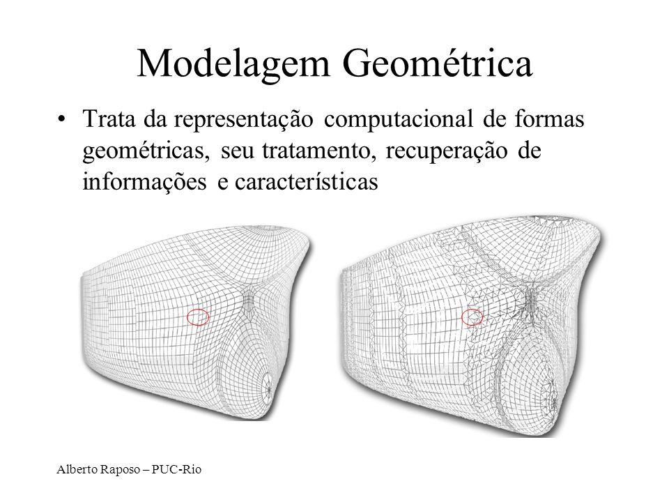 Modelagem Geométrica Trata da representação computacional de formas geométricas, seu tratamento, recuperação de informações e características.
