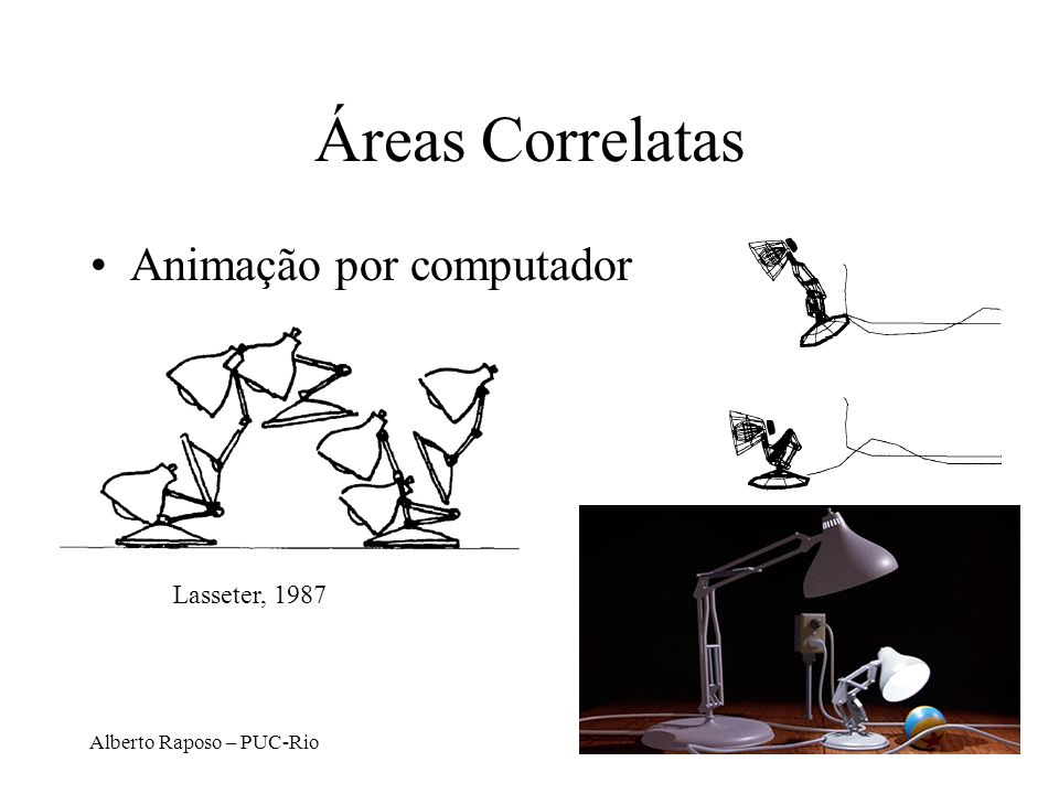 Áreas Correlatas Animação por computador Lasseter, 1987