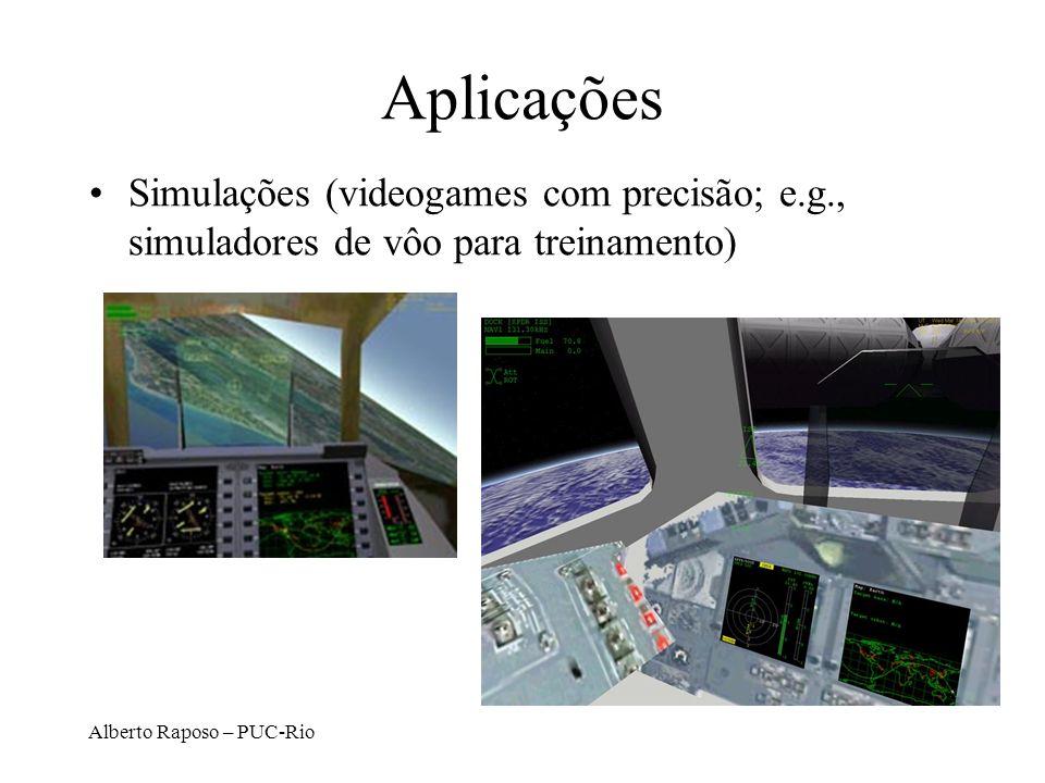 Aplicações Simulações (videogames com precisão; e.g., simuladores de vôo para treinamento) Alberto Raposo – PUC-Rio.