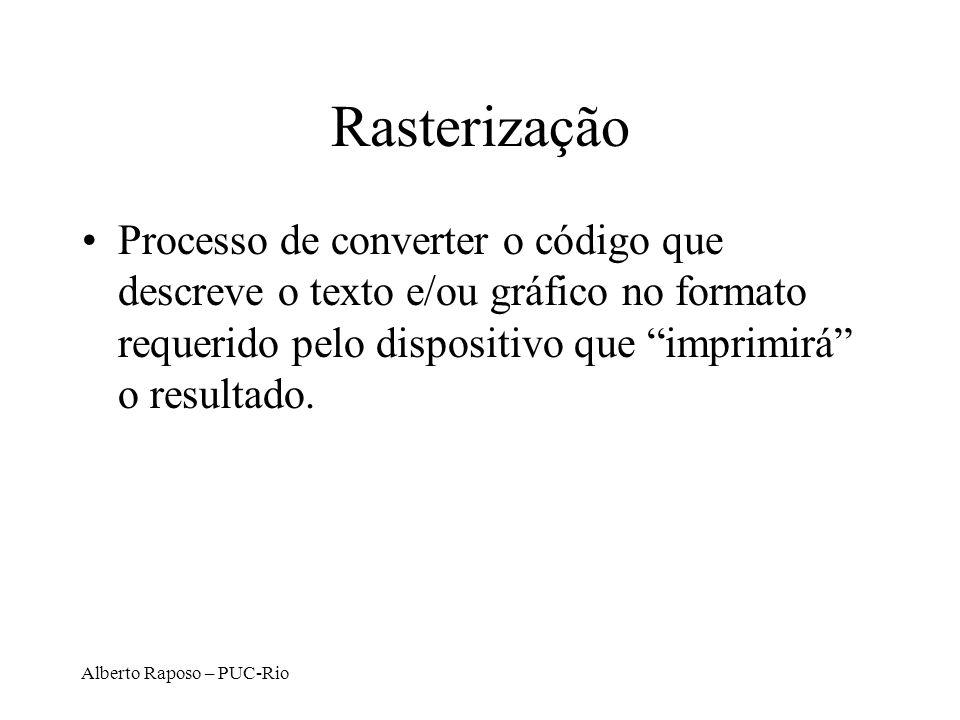 Rasterização Processo de converter o código que descreve o texto e/ou gráfico no formato requerido pelo dispositivo que imprimirá o resultado.