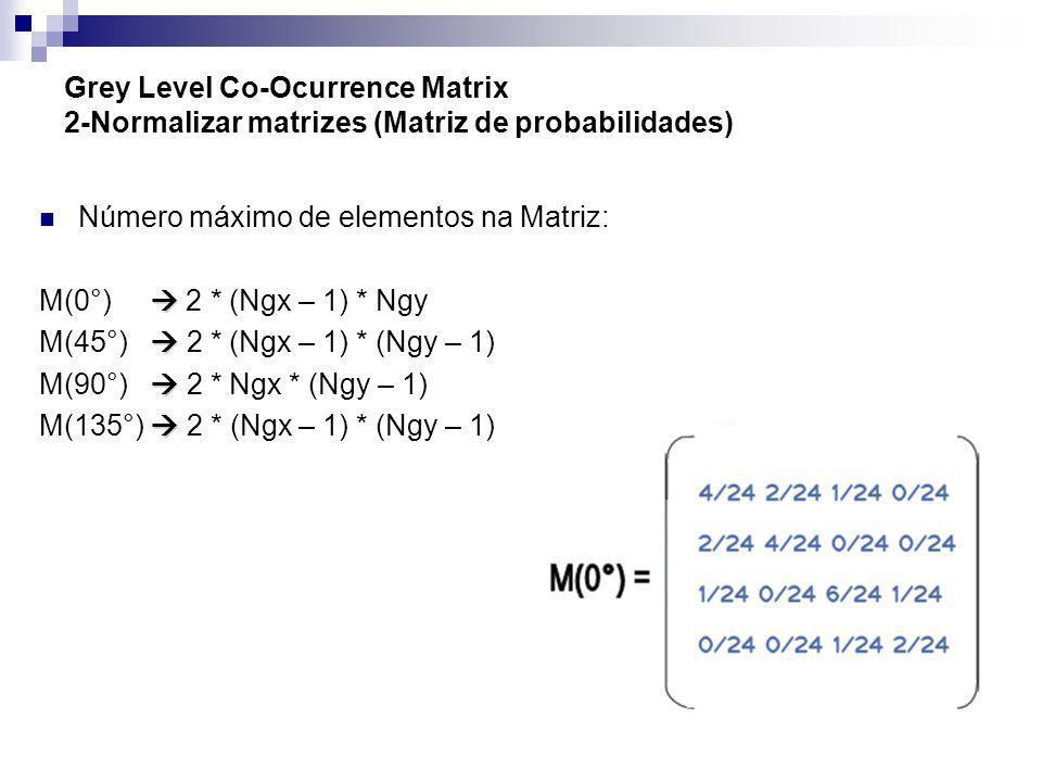 Grey Level Co-Ocurrence Matrix 2-Normalizar matrizes (Matriz de probabilidades)
