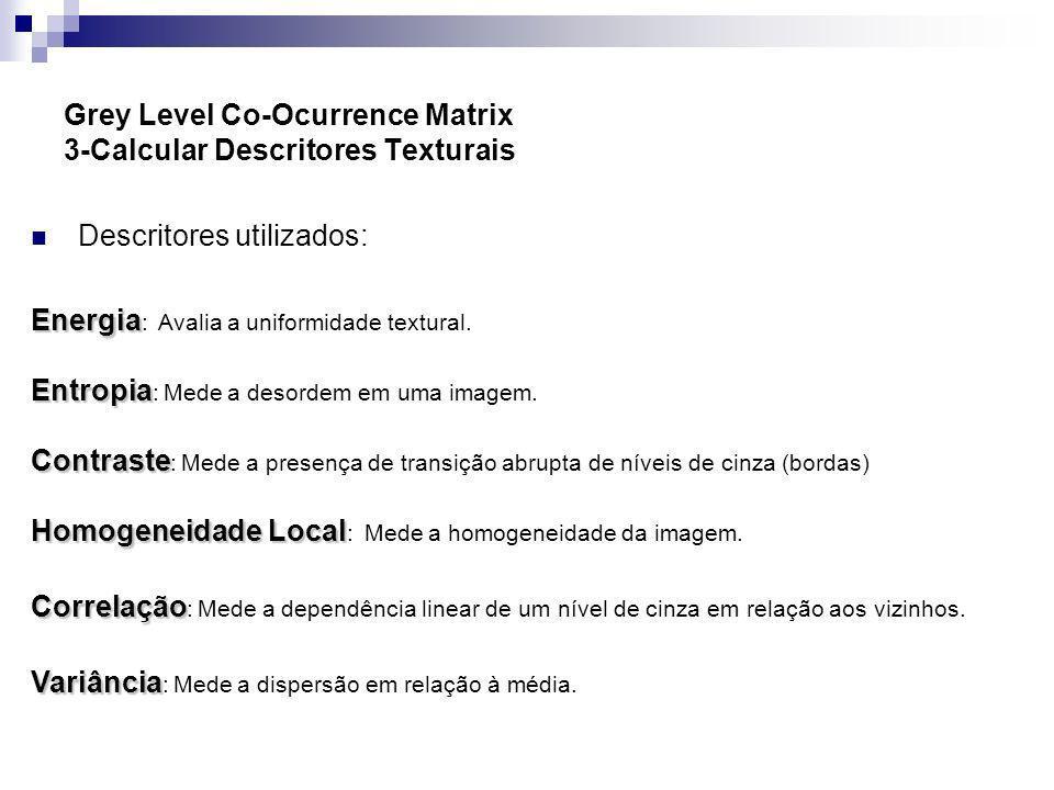 Grey Level Co-Ocurrence Matrix 3-Calcular Descritores Texturais