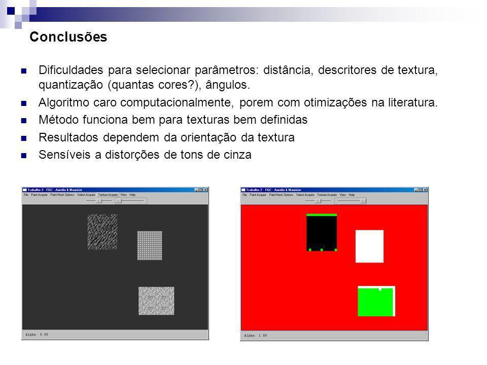 Conclusões Dificuldades para selecionar parâmetros: distância, descritores de textura, quantização (quantas cores ), ângulos.