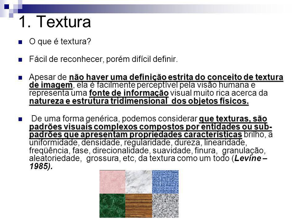 1. Textura O que é textura Fácil de reconhecer, porém difícil definir.