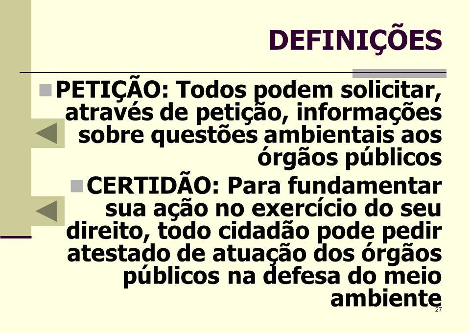 DEFINIÇÕESPETIÇÃO: Todos podem solicitar, através de petição, informações sobre questões ambientais aos órgãos públicos.