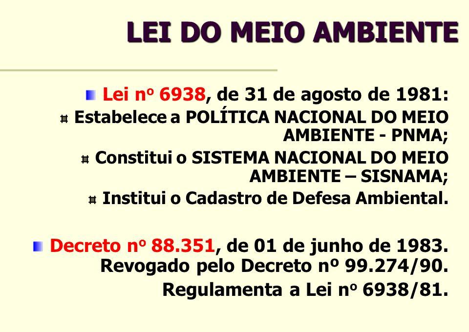LEI DO MEIO AMBIENTE Lei no 6938, de 31 de agosto de 1981: