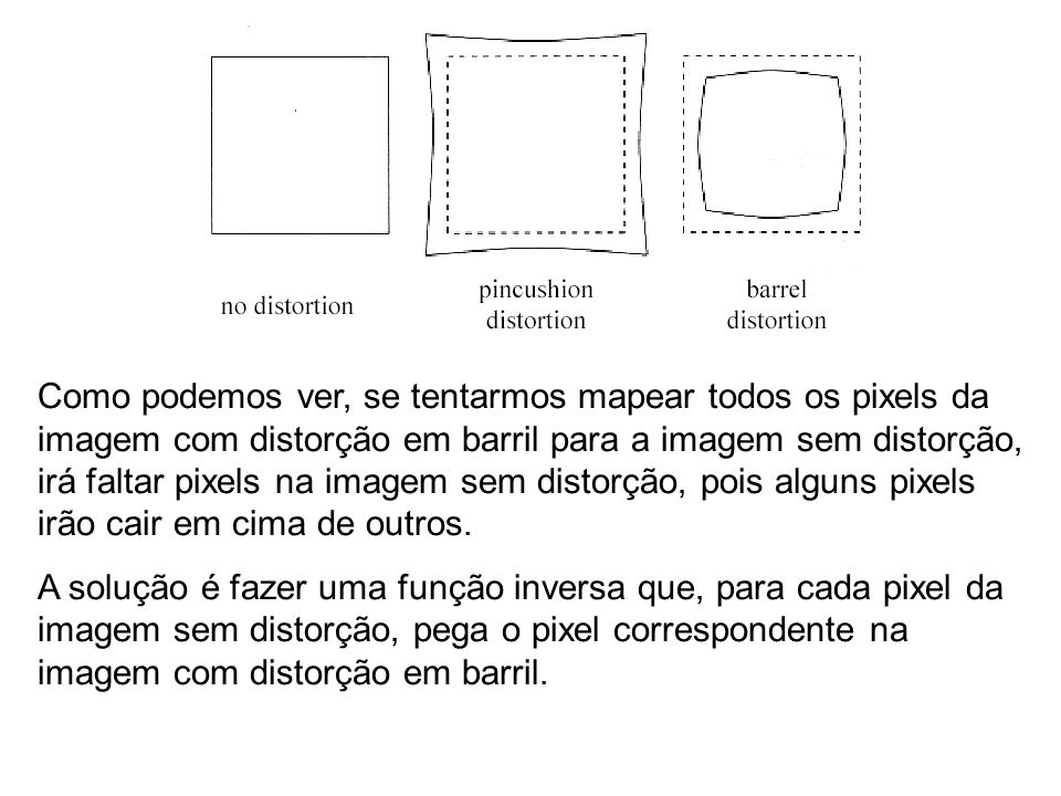 Como podemos ver, se tentarmos mapear todos os pixels da imagem com distorção em barril para a imagem sem distorção, irá faltar pixels na imagem sem distorção, pois alguns pixels irão cair em cima de outros.