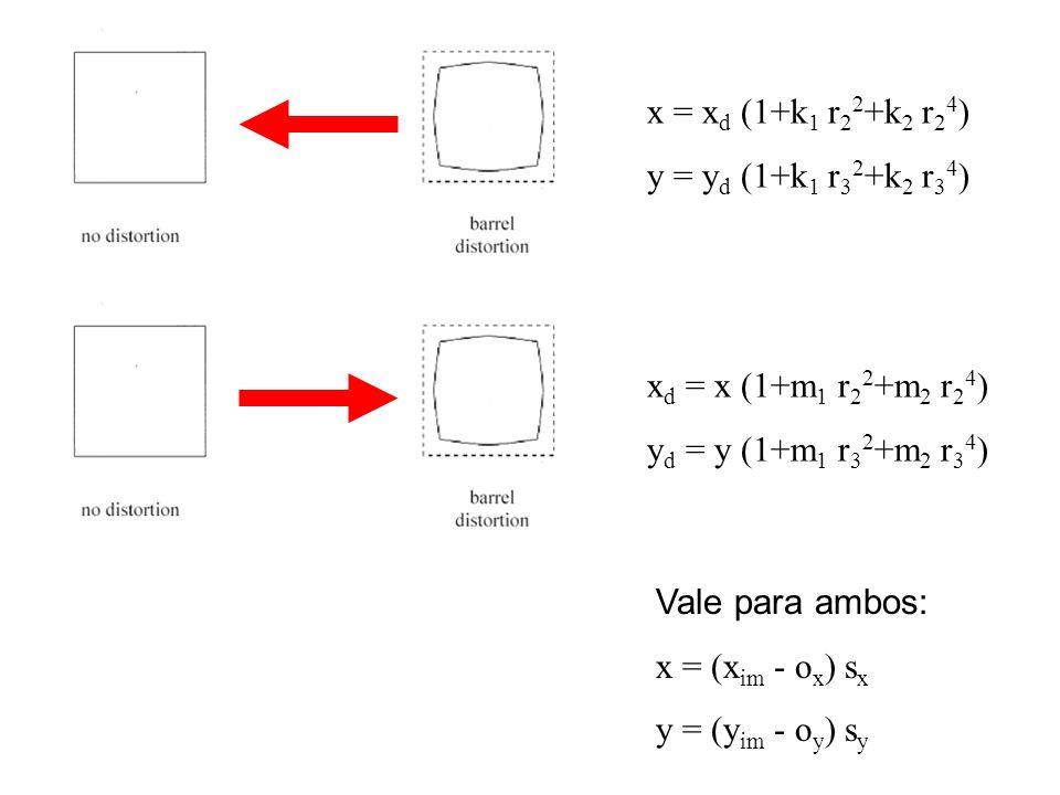 x = xd (1+k1 r22+k2 r24)y = yd (1+k1 r32+k2 r34) xd = x (1+m1 r22+m2 r24) yd = y (1+m1 r32+m2 r34) Vale para ambos: