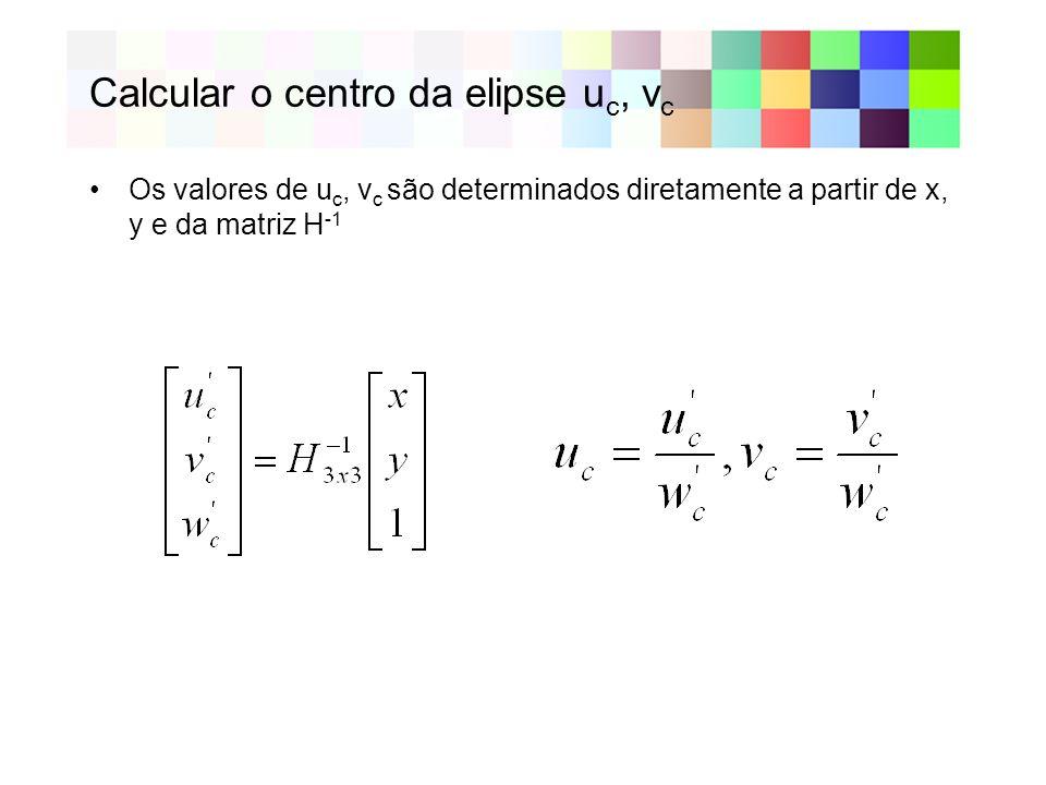 Calcular o centro da elipse uc, vc