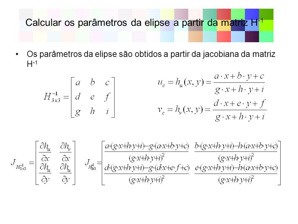 Calcular os parâmetros da elipse a partir da matriz H-1