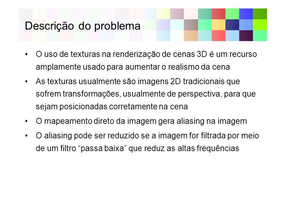 Descrição do problema O uso de texturas na renderização de cenas 3D é um recurso amplamente usado para aumentar o realismo da cena.