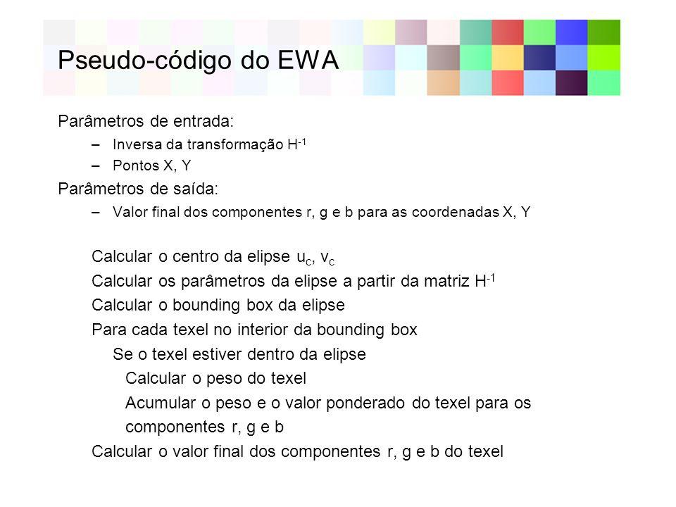 Pseudo-código do EWA Parâmetros de entrada: Parâmetros de saída: