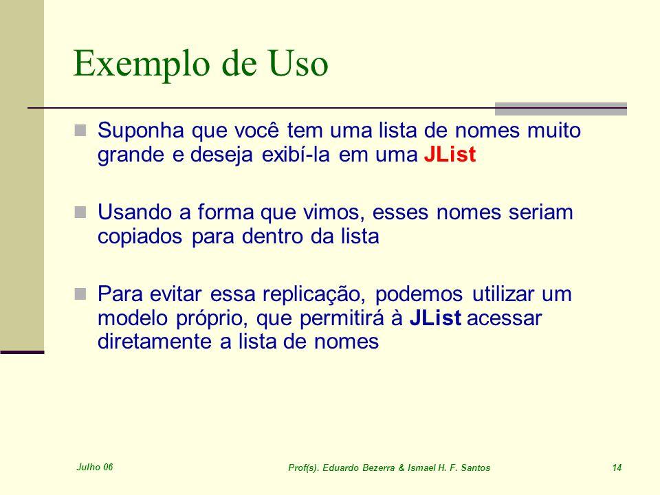 Exemplo de UsoSuponha que você tem uma lista de nomes muito grande e deseja exibí-la em uma JList.