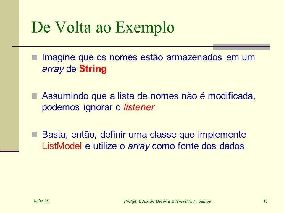 De Volta ao ExemploImagine que os nomes estão armazenados em um array de String.