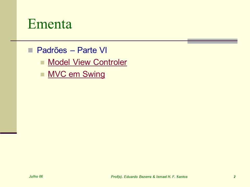 Ementa Padrões – Parte VI Model View Controler MVC em Swing Julho 06