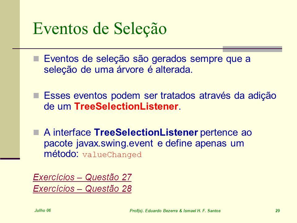 Eventos de SeleçãoEventos de seleção são gerados sempre que a seleção de uma árvore é alterada.