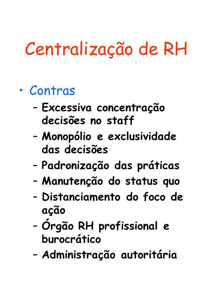 Centralização de RH Contras Excessiva concentração decisões no staff