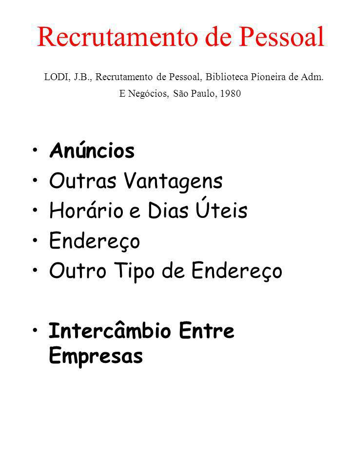 Recrutamento de Pessoal LODI, J. B