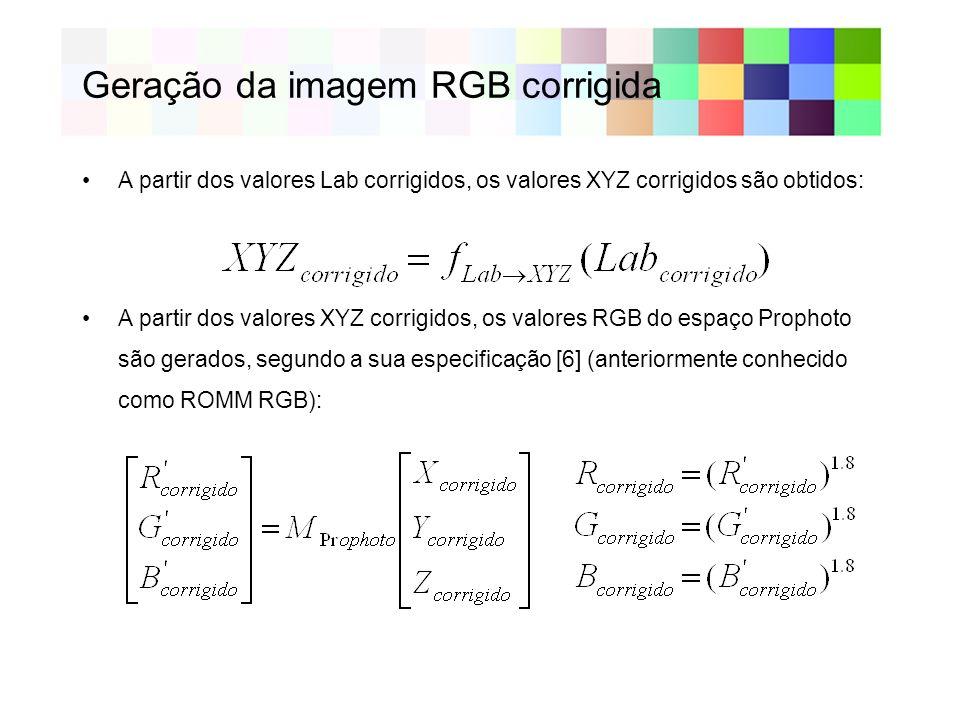 Geração da imagem RGB corrigida