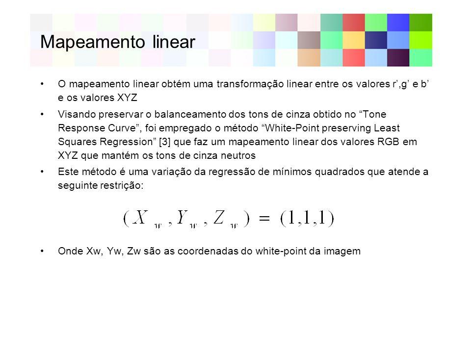 Mapeamento linear O mapeamento linear obtém uma transformação linear entre os valores r',g' e b' e os valores XYZ.