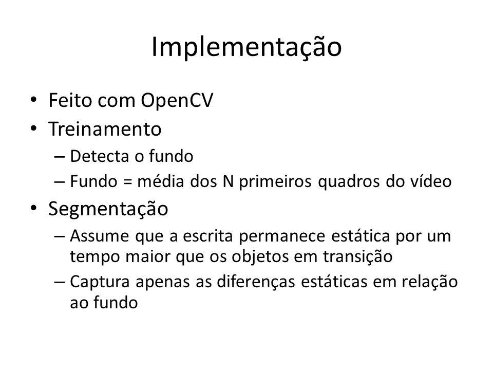 Implementação Feito com OpenCV Treinamento Segmentação Detecta o fundo