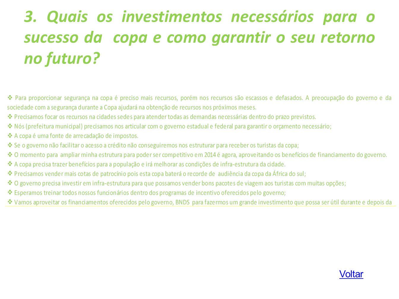 3. Quais os investimentos necessários para o sucesso da copa e como garantir o seu retorno no futuro