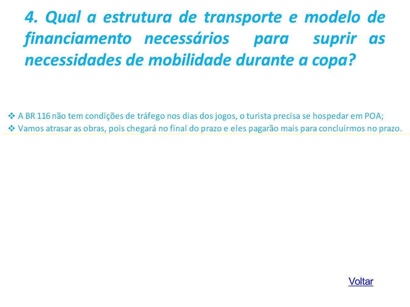 4. Qual a estrutura de transporte e modelo de financiamento necessários para suprir as necessidades de mobilidade durante a copa
