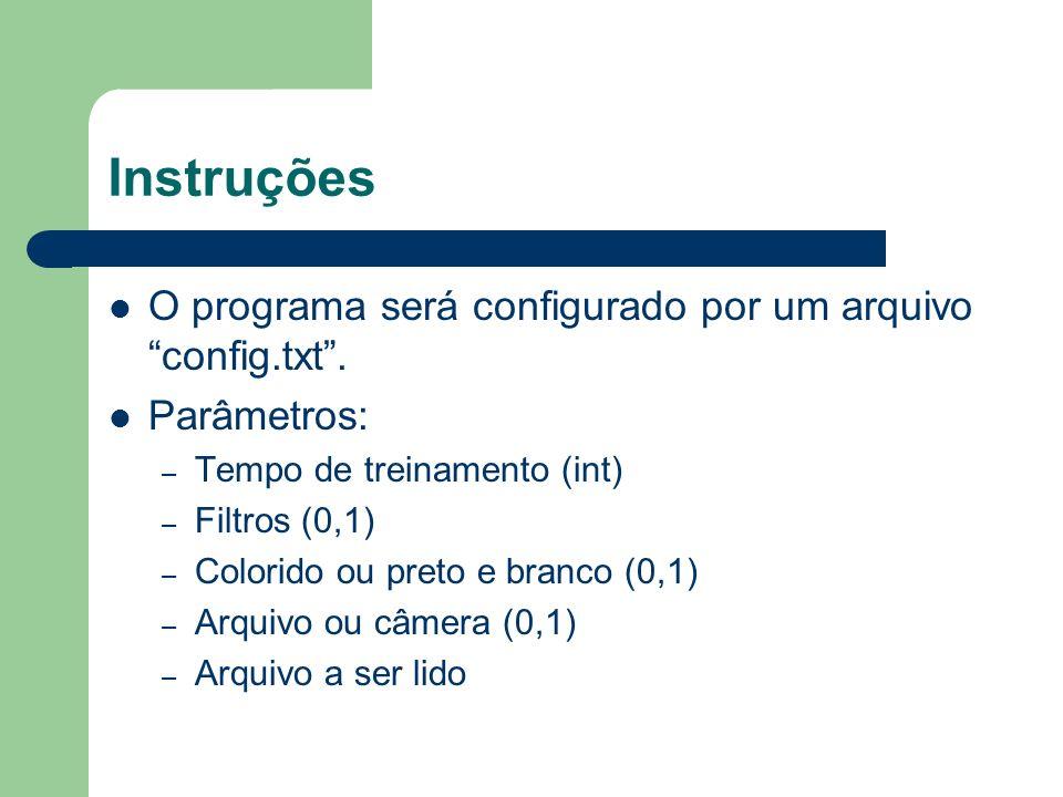 Instruções O programa será configurado por um arquivo config.txt .