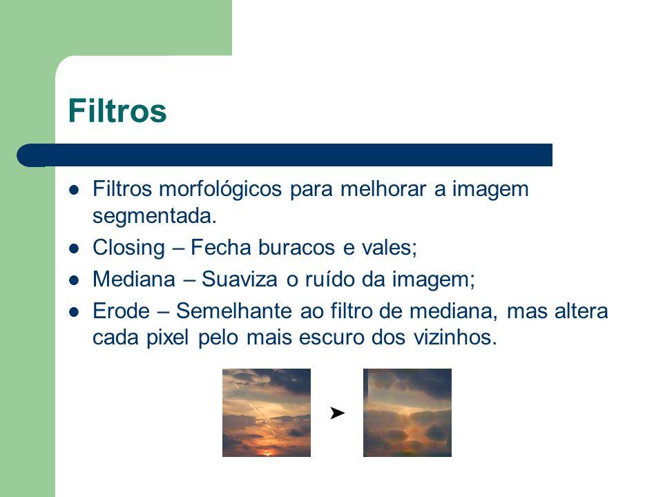 Filtros Filtros morfológicos para melhorar a imagem segmentada.