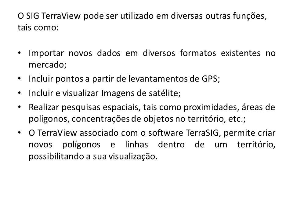 O SIG TerraView pode ser utilizado em diversas outras funções, tais como: