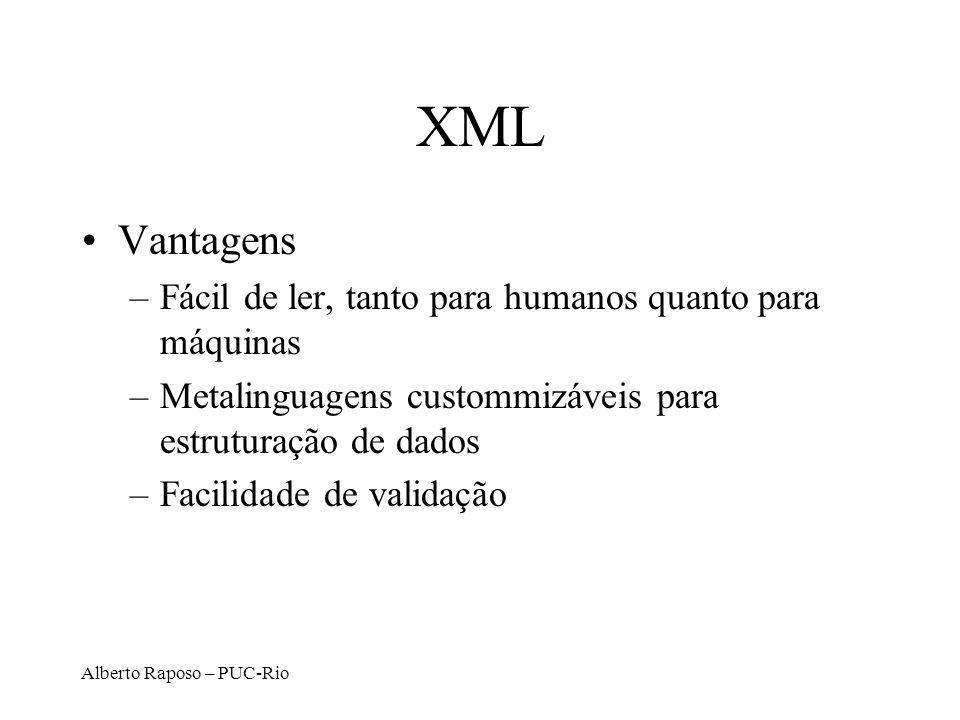 XML Vantagens Fácil de ler, tanto para humanos quanto para máquinas