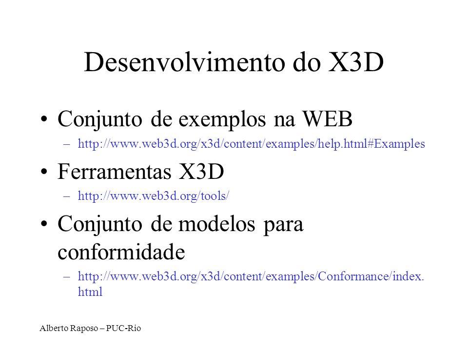 Desenvolvimento do X3D Conjunto de exemplos na WEB Ferramentas X3D
