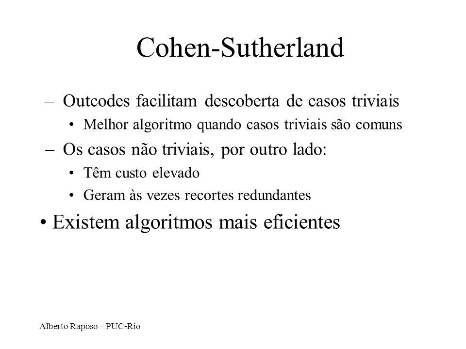 Cohen-Sutherland Existem algoritmos mais eficientes