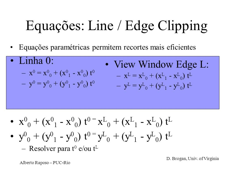 Equações: Line / Edge Clipping