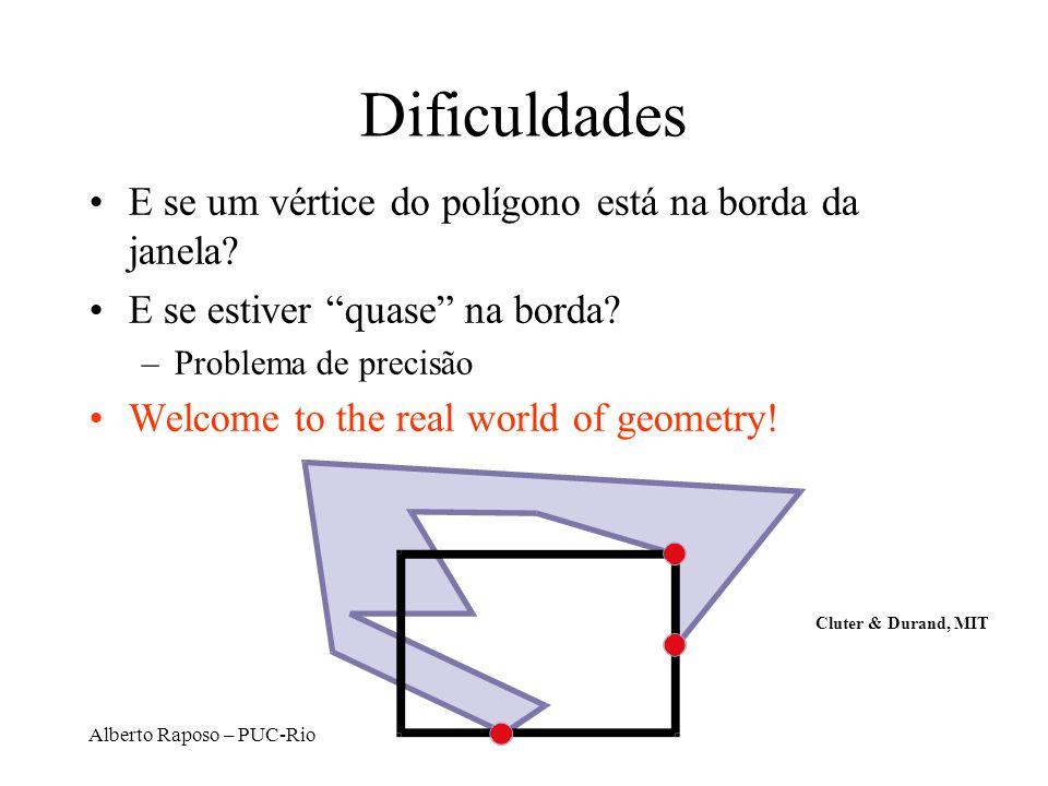 Dificuldades E se um vértice do polígono está na borda da janela
