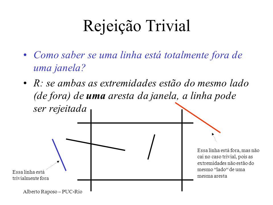 Rejeição Trivial Como saber se uma linha está totalmente fora de uma janela