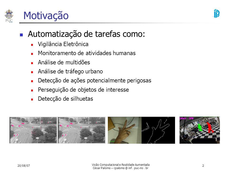 Motivação Automatização de tarefas como: Vigilância Eletrônica