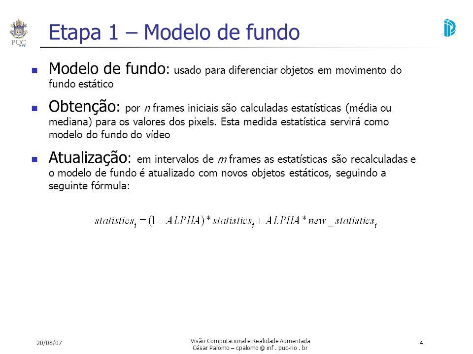 Etapa 1 – Modelo de fundo Modelo de fundo: usado para diferenciar objetos em movimento do fundo estático.