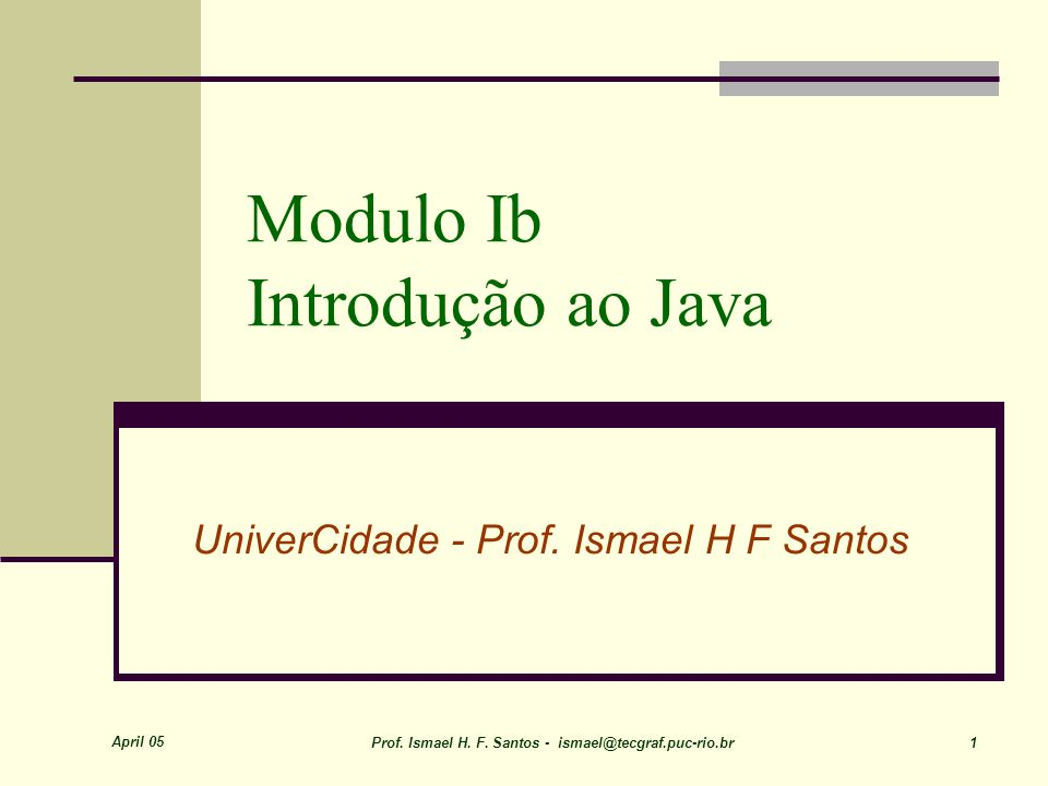 Modulo Ib Introdução ao Java